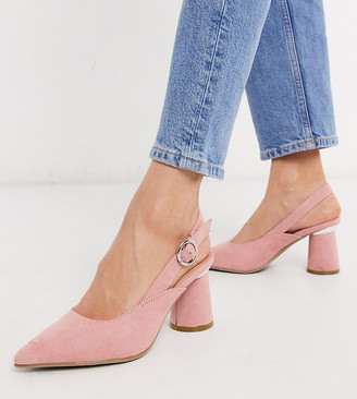 Simply Be extra wide fit sling back court shoe in pink