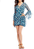 Billabong Stevie Sunday Floral Printed Tiered Bell Sleeve Shift Dress