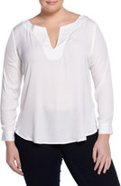 Tart Rae Long-Sleeve Woven/Knit Combo Top, White. Women's
