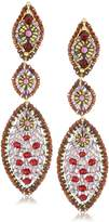 Miguel Ases Rubellite Quartz Multi Marquis Drop Earrings