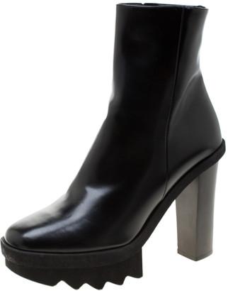 Stella McCartney Black Faux Leather Platform Ankle Boots Size 40