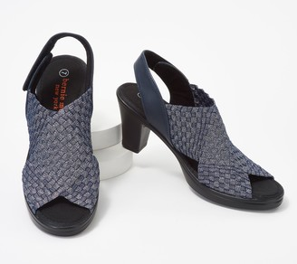 Bernie Mev. Basket Weave Heeled Sandals w/ Back-Strap - Beatrice