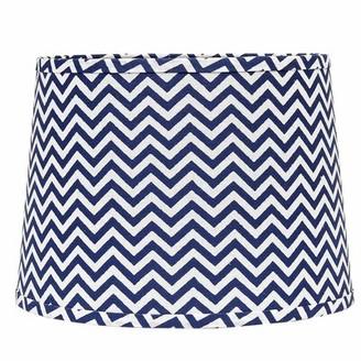 "Ebern Designs 10"" Cotton Drum Lamp Shade (Clip On) in Blue/White"