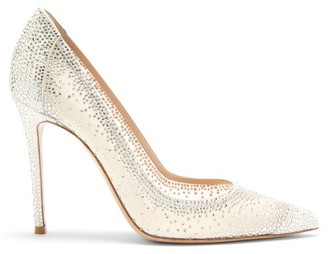 Gianvito Rossi Rania Cystal-embellished Suede Pumps - White