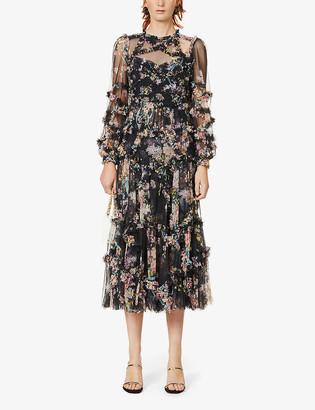 Floral-pattern semi-sheer tulle midi dress