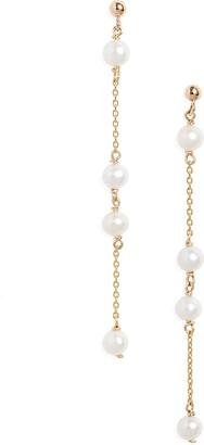 Poppy Finch 14K Gold Ball Pearl Station Drop Earrings