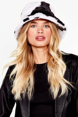 Nasty Gal Womens Anything Faux Fur You Dalmatian Bucket Hat - White