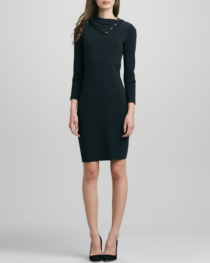 Diane von Furstenberg Turtle Knit Snap-Collar Dress