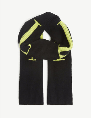 Valentino Logo wool and cashmere scarf
