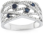 JCPenney FINE JEWELRY Genuine Sapphire and 1/5 CT. T.W. Diamond White Gold Swirl Ring