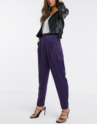 Asos Design DESIGN satin balloon trousers-Purple
