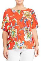 Lauren Ralph Lauren Plus Floral-Print Linen Top