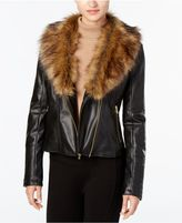 Cole Haan Signature Faux-Fur-Collar Faux-Leather Jacket