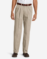 Eddie Bauer Men's Wrinkle-Free Relaxed Fit Pleated Performance Dress Khaki Pants