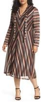 London Times Plus Size Women's Tie Neck Stripe A-Line Dress