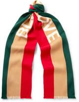 Gucci Striped Intarsia Wool and Silk-Blend Scarf