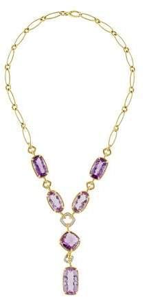 David Yurman 18K Amethyst & Diamond Lavalier Necklace