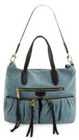 Aimee Kestenberg Saratoga Carniva Large Denim and Leather Satchel