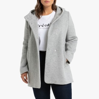 Mid-Length Hooded Coat with Press Studs and Pockets