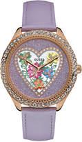 GUESS Women's Purple Leather Strap Watch 38mm U0908L1
