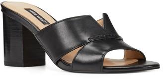 Nine West Nicolet Women's Leather Block Heel Slides