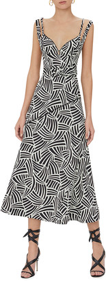 Alexis Minasa Abstract-Print Midi Dress