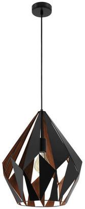Eglo Usa Pendant, Matte Black Outer Finish, Copper Interior Finish