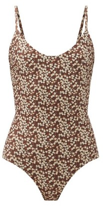 Matteau The Scoop Floral-print Swimsuit - Brown Print
