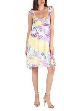 24seven Comfort Apparel Ruffle Strap Floral Sleeveless A-Line Dress