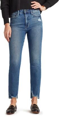 Sam Edelman The Stiletto Distressed Hem High Waist Straight Leg Jeans