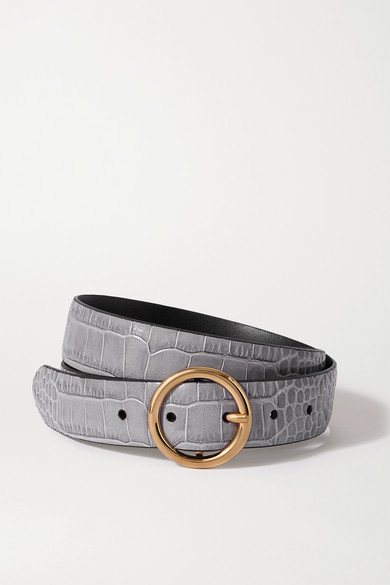 Thumbnail for your product : Andersons Croc-effect Leather Belt - Gray