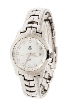 Tag Heuer White Mother of Pearl Stainless Steel Link WAF1317 Women's Wristwatch 26 mm