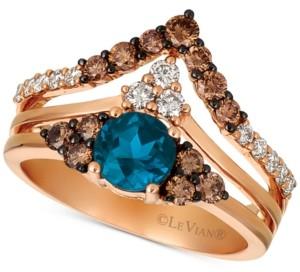 LeVian Le Vian Deep Sea Blue Topaz (7/8 ct. t.w.) & Diamond (3/4 ct. t.w.) Chevron Statement Ring in 14k Rose Gold