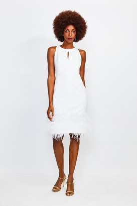 Karen Millen Feather Hem Halter Neck Dress