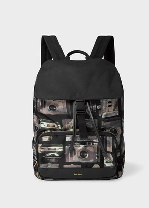 Paul Smith Black 'Camera Camo' Print Backpack