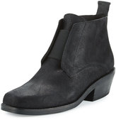 Eileen Fisher Raven Square-Toed Leather Bootie, Black