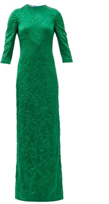 Miu Miu Crinkled Silk Duchess-satin Column Gown - Green