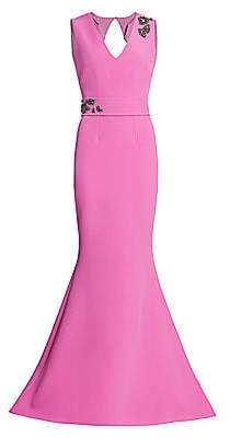 Safiyaa Women's Crystal Embellished Heavy Crepe Trumpet Gown