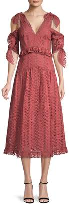 Rebecca Taylor Karina Ruffled Cold-Shoulder Cotton A-Line Dress