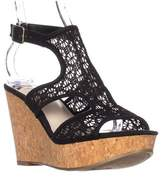 Fergalicious Kendra Platform Wedge Sandals, Black.