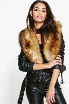 Boohoo Charlotte Faux Leather Biker With Faux Fur Collar