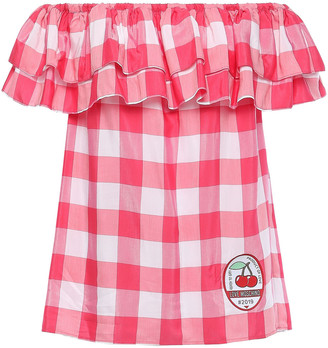 Love Moschino Off-the-shoulder Appliqued Gingham Woven Top