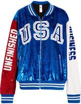 Ashish Sequined Cotton-jersey Bomber Jacket - Bright blue