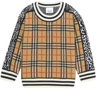 Burberry Kids Check Print Sweater
