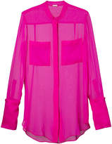 ADAM by Adam Lippes Chiffon blouse with stand collar