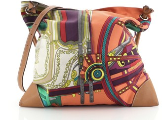 Hermes Silky City Bag Printed Silk and Leather PM