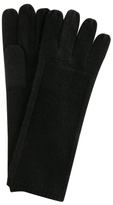 black knit detail cashmere gloves