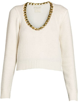 Bottega Veneta Brushed Wool Chain Scoopneck Sweater