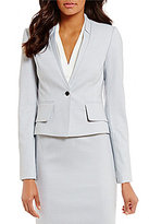 Calvin Klein Birdseye Stretch Suiting Notched V-Neck Jacket