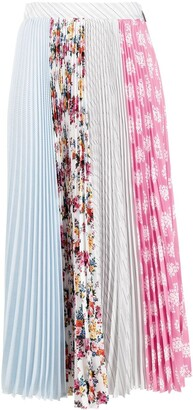 MSGM Mix-Print Pleated Skirt
